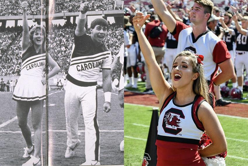 The image on the left is of two male and female gamecock cheerleaders cheering at a football game in 1985 and two male and female gamecock cheerleaders singing the alma mater, holding an imaginary drink in the air.