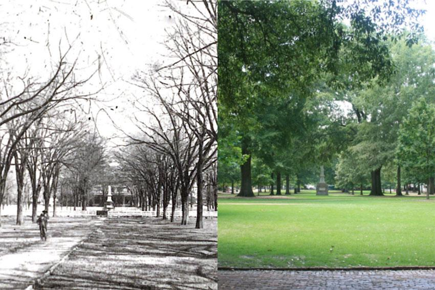 The image on the left is the Horseshoe in 1875 and the image on the left is the Horseshoe today.