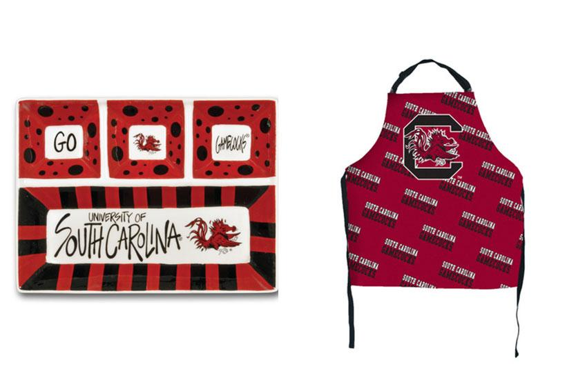 For the professional tailgater: A beautifully decorated dip tray and Gamecock apron are the perfect gifts for the person in your life who treats tailgating as a professional sport.