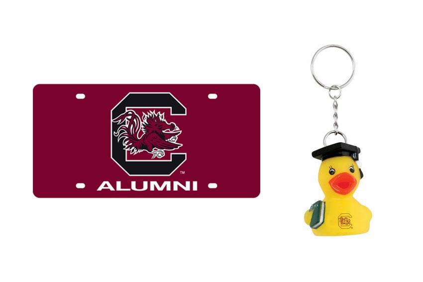For the recent grad: There is a ton of UofSC alumni gear available at the bookstore, but this car plate and key chain are little things you can get your favorite graduate.