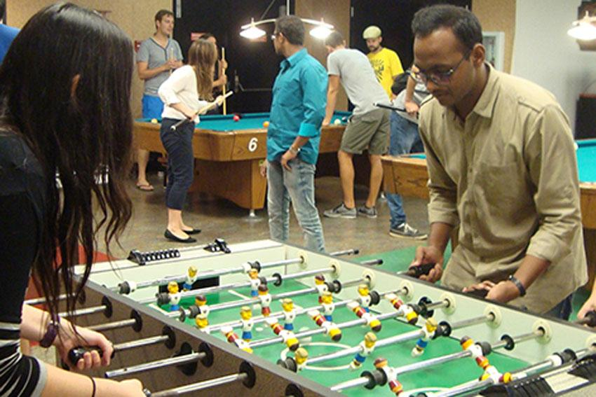 Pass time between classes, hang out with friends or just enjoy a change in scenery at the Golden Spur Game Room, located on the basement level of the Russell House. Participate in some friendly competition with billiards, ping-pong, foosball, board games, video games and playing cards.