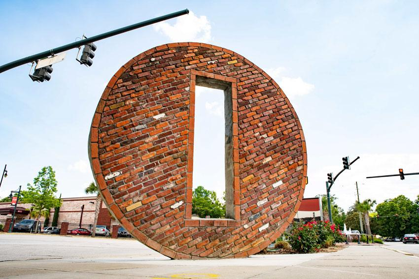"Located in Five Points, ""The Hubbell"" is a 15,000 pound masonry sculpture built by the late Columbia artist and stoneworker Jay Hubbell. Photo by Crush Rush."