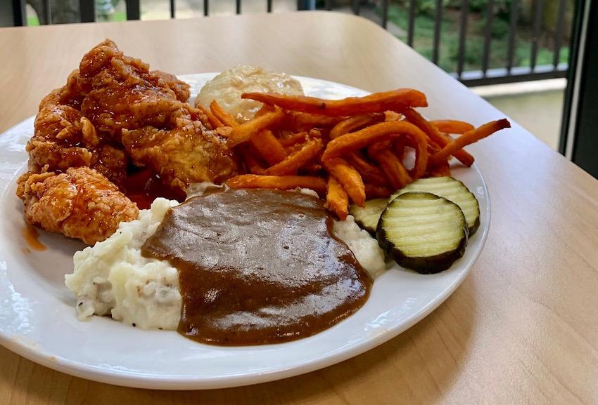 Head over to Russell House where The Southern Kitchen offers homemade meals including chicken and waffles, buffalo chicken salad, or crispy or grilled chicken tender platters that comes with a variety of side options.