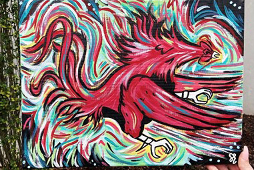 A painting of UofSC's Fighting Gamecock mascot