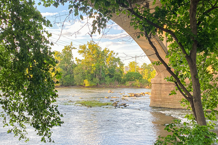 An arch in the Gervais Street Bridge as seen from the Cayce Riverwalk.