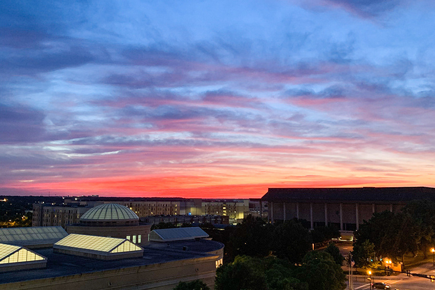 View of a sunset over west campus from the Horizon Garage.