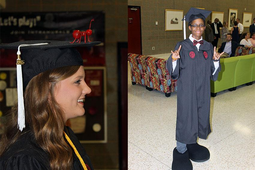 "USC Sumter's Julia Sorrells (left) represents the Fire Ant women's tennis team's motto #antup with her graduation cap. Rebekah Davis (right) revealed for the first time her role as USC Sumter's mascot ""Blaze"" by wearing her costume's shoes when crossing the stage."