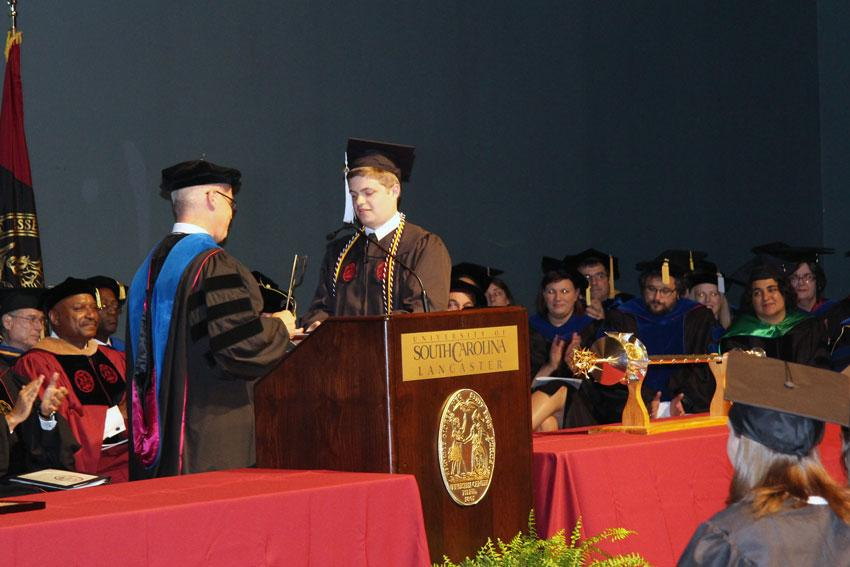 USC Lancaster graduate Brandon Michael Newton, 2016 recipient of the Clara P. Hammond Award, was the first Palmetto College graduate to earn BOL & BLS degrees simultaneously.