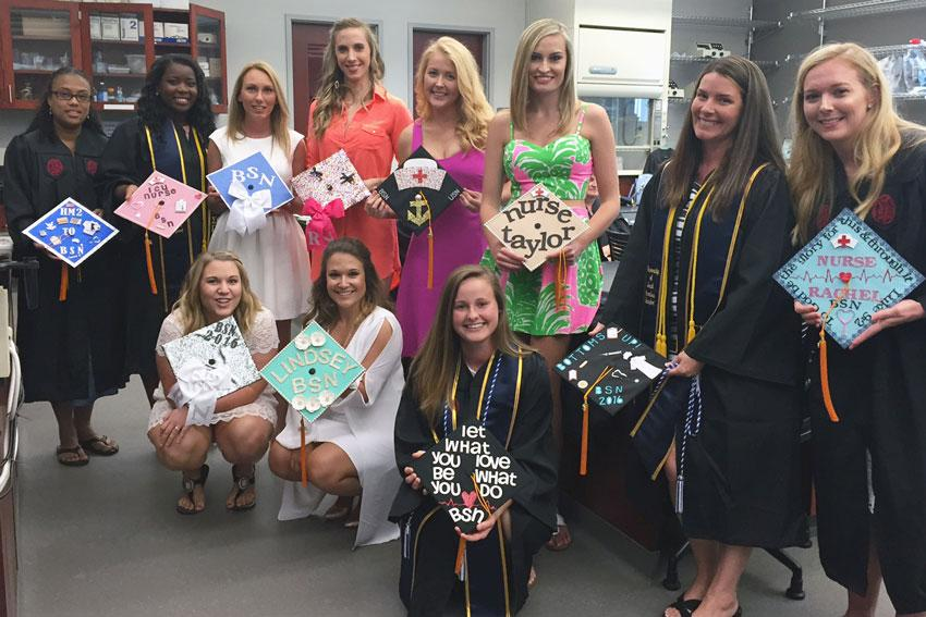 USC Beaufort nursing students display their creative and unique graduation caps.