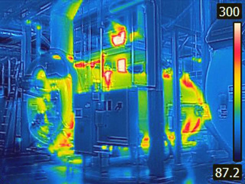 In May 2016, USC Energy Services supervisor Scott Cooper joined USC Times for a nighttime photo shoot and brought the spot thermal camera his office typically uses to inspect equipment for hot spots. The chiller depicted is located in the East Energy Plant, adjacent the College of Nursing. See scale at right of frame for temperature range; check out the rest of the gallery for additional cool pictures of a hot campus.