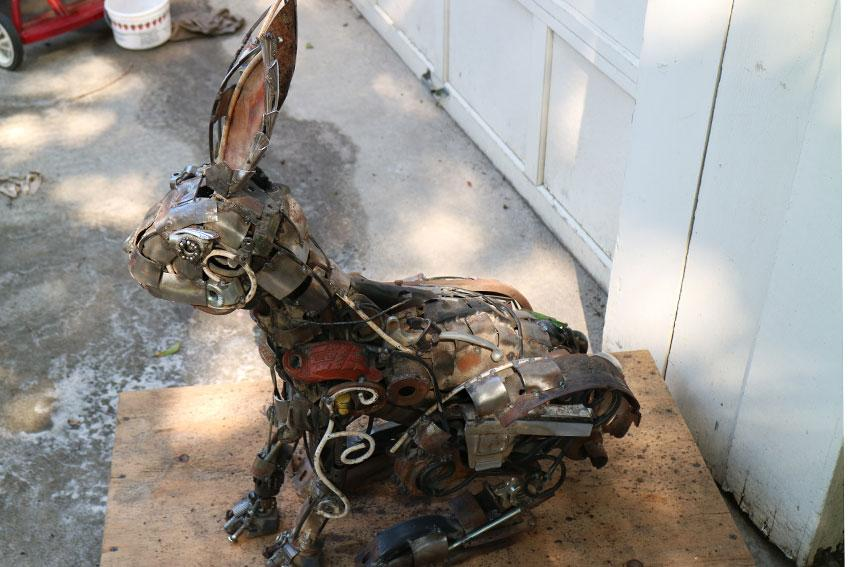 Metal rabbit sculpture