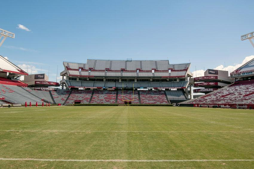 Williams–Brice Stadium field, estimated completion August 2016 Stadium renovations include a new sand-based drainage system, new irrigation and sod. Asphalt previously installed along the east sideline was replaced with new sod and a concrete sidewalk. The west sideline asphalt was also replaced with concrete.