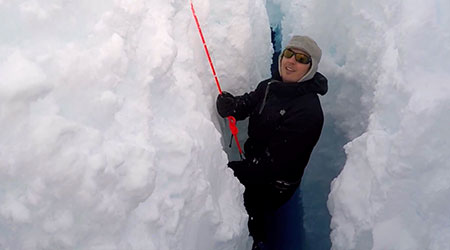 Lori Ziolkowski practicing crevasse safety training