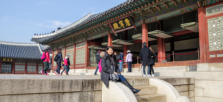 Global studies student Sidney Cutter in Seoul, South Korea