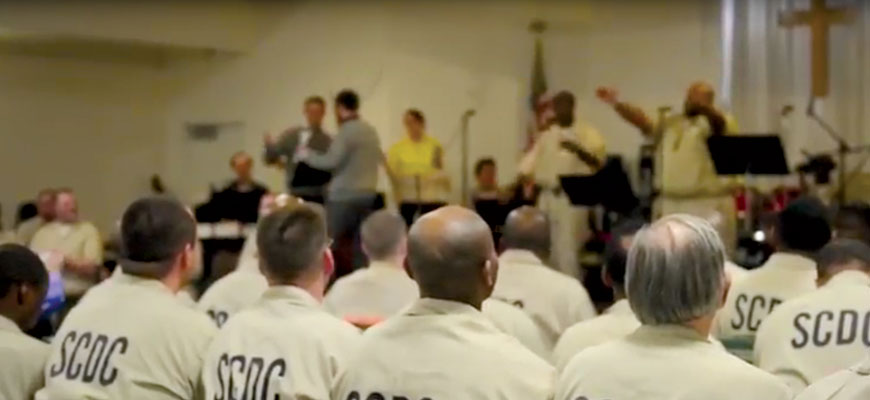 Inmates performing at concert