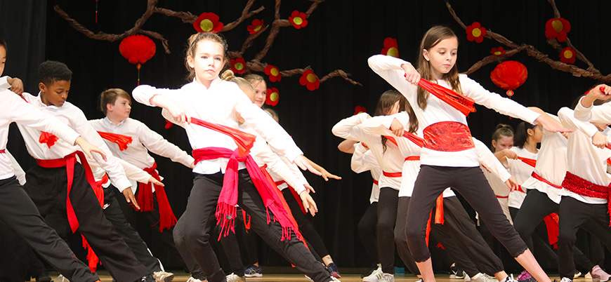 Student dance during Chinese New Year celebration