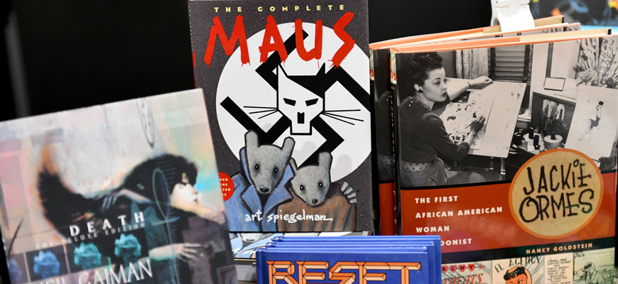 book covers including graphic novel Maus