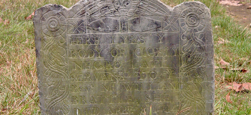 old gravestone of an enslaved woman name Cicely