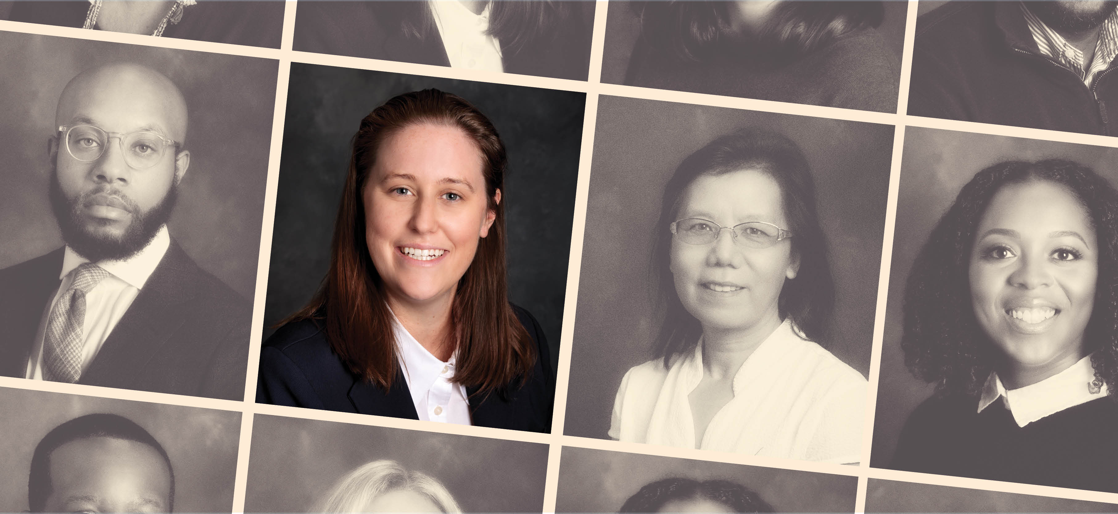 A grid of photos shows new faculty members in black and white in the style of a high school yearbook. Featured faculty member Collen Clark is in color.