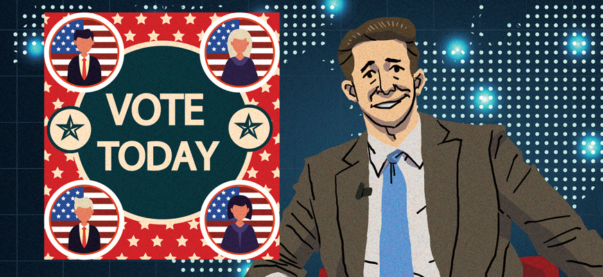 Illustration of a talk-show host next to a poster reading 'Vote Today.'