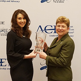 Mary Alexander accepts ACE award