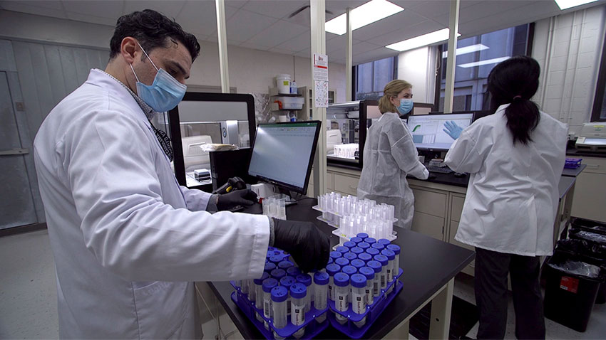 researchers work in testing lab