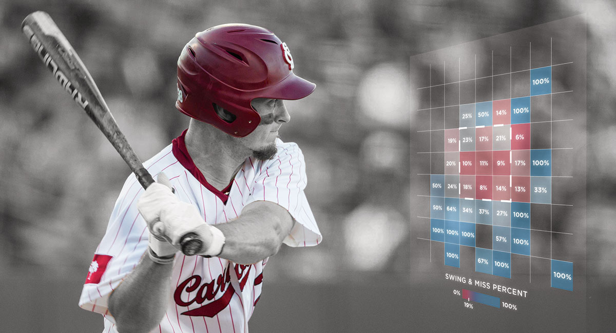 baseball player with bat and overlay of graphical data