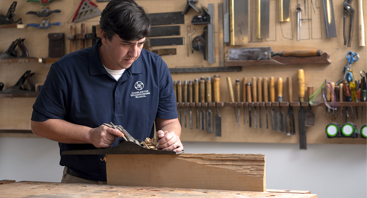 woodworking student working in the shop