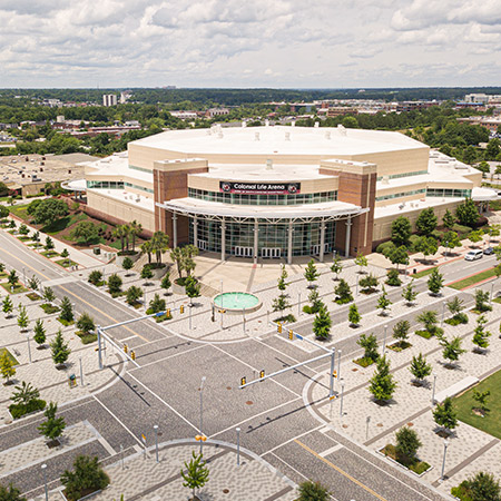Arial view Colonial Life Arena and Foundation Square