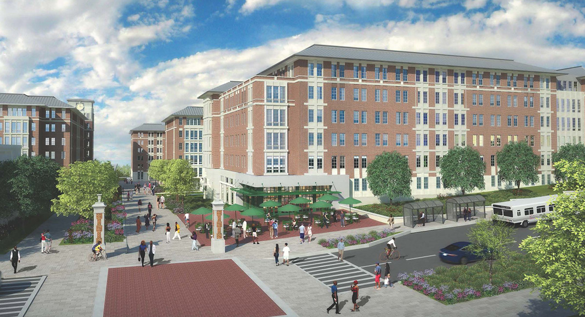rendering of the new campus village project