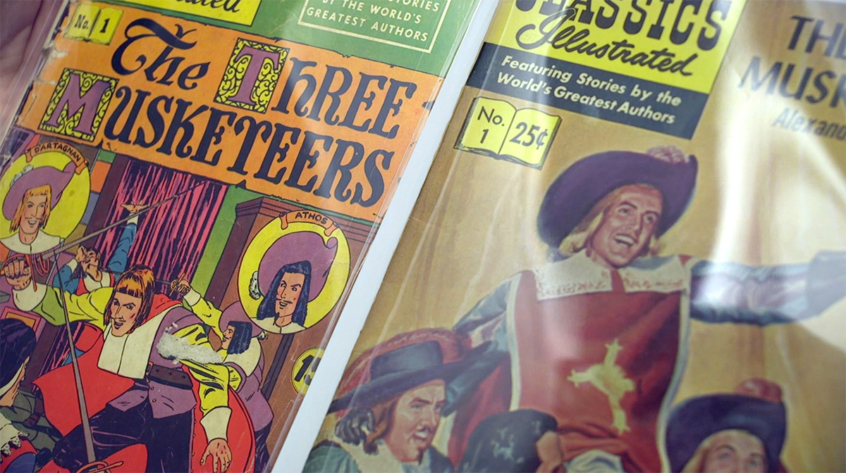close-up of vintage Three Musketeers comics