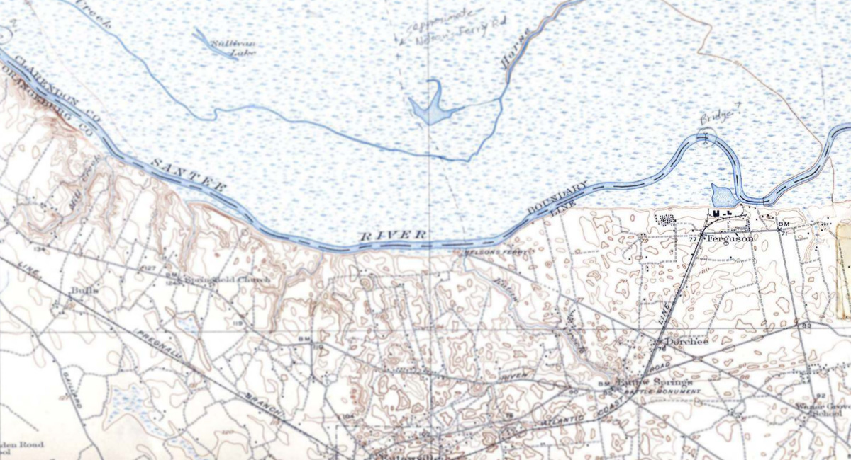 historical map showing Ferguson along the Santee River