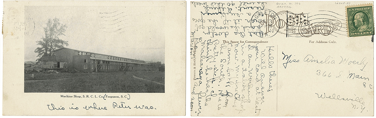 front and back of an postcard form 1910, the front has a photo of the machine shop, the back includes a handwritten note