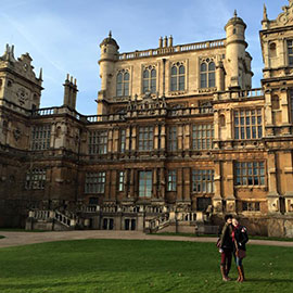 Meghan Conroy and a fellow Master's student at Wollaton Hall in Nottingham