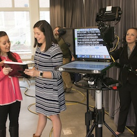 students working on a tv show