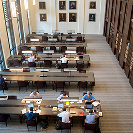 students studying in the reading room