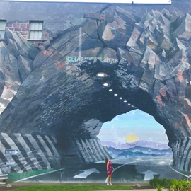 A student standing in front of the Tunnelvision mural.