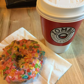 Zombie coffee cup and donut