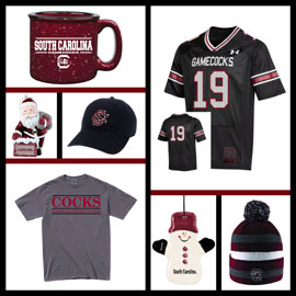 A collage of items from the UofSC book store. A garnet South Carolina mug, a santa ornament, a snowman ornament, a black cap, a garnet, black and white striped beanie, a black replica football jersey and a grey t shirt that says