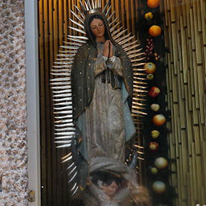 A statue of the Virgin of Guadalupe, at the Basilica of Our Lady of Guadalupe, in Mexico City