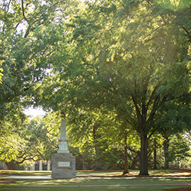 the maxcy monument on the UofSC horseshoe surround by green trees