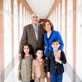 Vida Yousefian with her husband and their three children