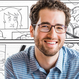 Jarad Greene is pictured superimposed over comic book sketches
