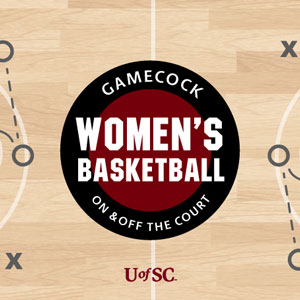 rendering of a basketball court with the words Gamecock women's basketball on and off the court