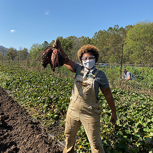 Garden Manager Sadia Pollard stands among crops and holds sweet potatoes in her right hand
