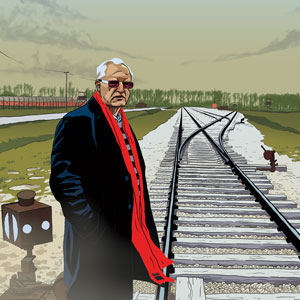 artist rendering of mohammed dajani standing beside a railroad switching station