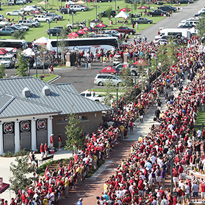 a crowd of Gamecocks fans outside Williams-Brice Stadium