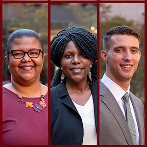 Headshots of Nicole Cooke, Toby Jenkins and Jay Urich, 2021 Social Justice AWard winners