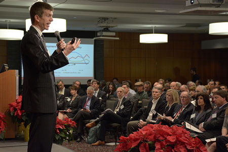 Darla Moore School of Business economist Joseph Von Nessen speaks at the University of South Carolina's 2020 Economic Outlook Conference