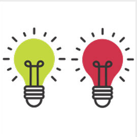 illustration of a green and a red lightbulb